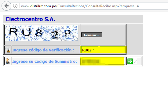 1.PAGO DE RECIBO DE LUZ POR INTERNET